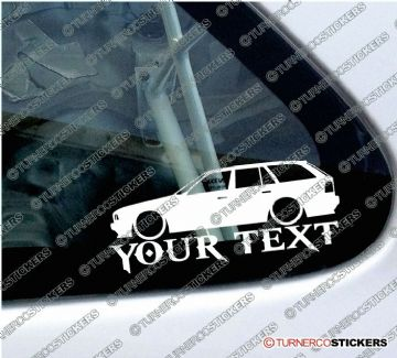 2x Lowered BMW E34 530i, 535i 5-Series Touring wagon CUSTOM TEXT silhouette stickers